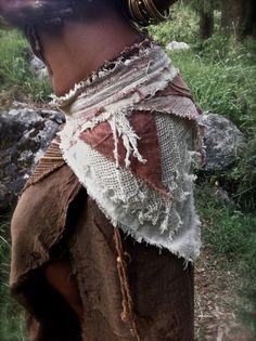 Eearthy Natural Pixie Pure Cotton Khadi Tulsi beads little Belt Cream Terracotta Brown