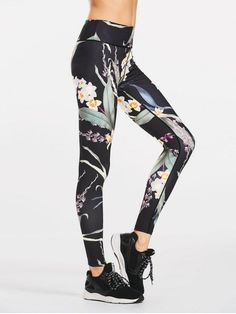 Stretchy Slimming Floral Sporty Leggings - Black M Dance Leggings, Women's Leggings, Floral Leggings, Printed Leggings, Cheap Leggings, Dance Tights, Black Leggings, Womens Workout Outfits, Sport Outfits
