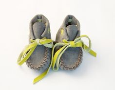 Ash/Lime Fringe Booties   BRIKA - A Well-Crafted Life