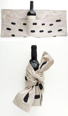 dish towel + a bottle of wine.