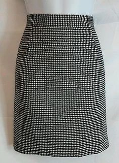 ADEC2 by Philippe NEW Multi-Color Wool Houndstooth Straight Skirt Size 6