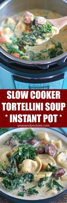 Slow Cooker Tortellini Soup that can be made in the Crockpot or Instant Pot! Creamy, loaded with chicken sausage, veggies, kale and three cheese tortellini. (crock pot soup recipes with chicken) Slow Cooker Tortellini Soup, Cheese Tortellini, Crockpot Recipes, Soup Recipes, Cooking Recipes, Sausage Recipes, Recipies, Instant Pot Pressure Cooker, Pressure Cooker Recipes