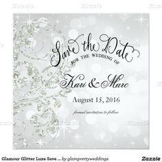 Glamour Glitter Luxe Save the Date | silver ice Card