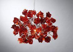 Hanging lampshade. Transparent red flowers. by Flowersinlight, $119.00 #handmade, #homedecor