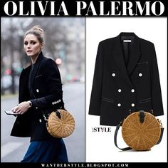 Olivia Palermo in black jacket with round bamboo woven bag #pfw