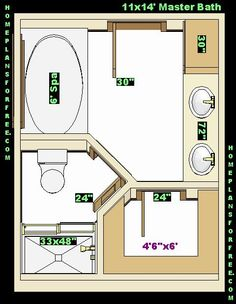 Floor Plan for a 8x14 bath and 11x13 bedroom | House ...