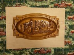 Check out the detail on this vintage farm tractor!! The 3D wood carved farming tractor sitting in the field with the family dog keeping you company in the field wall hanging is the perfect addition to your rustic home. It's unique and makes a great 5th wood anniversary gift, housewarming present or wedding gift!
