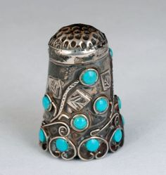 ♡ Vintage STERLING SILVER THIMBLE with Turquoise Gems ORNATE OVERLAY TAXCO MEXICAN