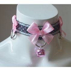 ddlg princess BDSM proof kawaii cute kitten play neko lolita choker... ($18) ❤ liked on Polyvore featuring jewelry, necklaces, charm necklaces, collar necklaces, choker collar necklace, wide choker and ribbon charms