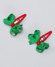 Take a look at this Green & Red Loopy Clip Set by Festive Fifi on #zulily today!