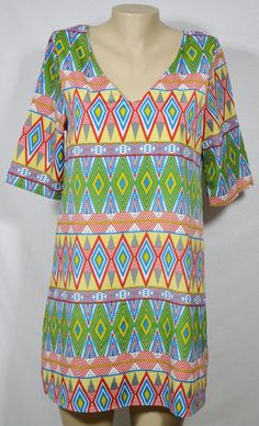 EVERLY Blue/White/Green/Gold/Red Patterned Shift Dress Medium Lined 3/4 Sleeve #Everly #Shift #Casual