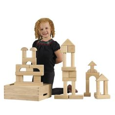 ECR4Kids Hardwood Building Blocks, 64-Piece Set