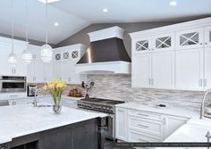 if you wish to acquire more these amazing ideas related to Modern Kitchen Backsplash Pictures just click leadsgenie. Modern Kitchen Backsplash, White Kitchen Cabinets, Kitchen And Bath, Stone Backsplash, Shaker Cabinets, Upper Cabinets, Glass Cabinets, Mosaic Backsplash, Backsplash Ideas
