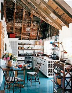 I would love blue floors like this in my kitchen overlooking the beautiful blue ocean :)
