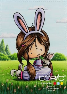 Copic Marker France: Somebunny Loves You. Skin: E000, 00, 11, 71 Hair: E25, 33, 49, 59 Ears: BV00, 02, 04, R20 Clothing: BV000, 00, 02, 04, RV04, 06, 09 Rabbits: R20, W0, 1, 3, 5 Grass: G28, YG01, 03, 17, 67 trees and bushes: G28, 29, 40, 43, 46, YG01, 03, 17 Sky and clouds: BG000, BV20, C0, 1