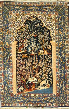 "20th century Persian garden Tabriz rug, with rabbits, birds, deer and fish, 5' 3"" x 3' 7""."