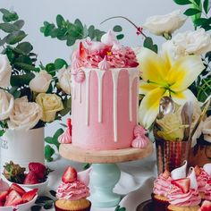 White Cake with Pink Frosting and Strawberry + Meringue Kisses