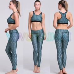 Yoga Set Mermaid Scales petrol blue yoga bra YIWU LAIMAI 2016 trainer High waist women fitness set work out pants gym sportswear