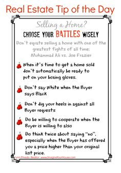 Downtown Real Estate Partners, oldtownforsale.com Real Estate Tip of the Day - Choose your Battles wisely.  #realestate #homesellingtips