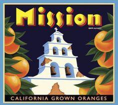 Mission California oranges crate label c. 1910-1920