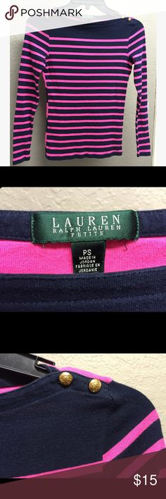 Lauren Ralph Lauren Long Sleeve Striped Shirt Lauren Ralph Lauren long sleeve pink and navy blue striped shirt. Size PETITE SMALL. Gold button detail on both shoulders. Thin stripes on front, thicker stripes on back. Lauren Ralph Lauren Tops Tees - Long Sleeve