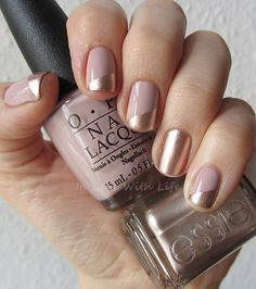 Pretty copper and beige manicure with OPI My Very First Knockwurst and Essie PennyTalk