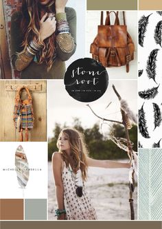 #Moodboard / Inspiration board : Bohemian leathers and feathers | by Irene Victoria Design