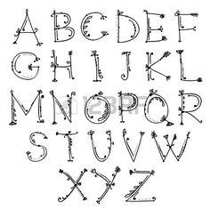Croquis d alphabet floral pour votre conception Banque d'images