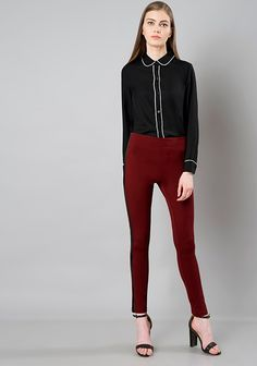 Maroon Coloured Leather Panel Jeggings #Fashion #FabAlley #Jeggings #Party #PartyWear #Bottom