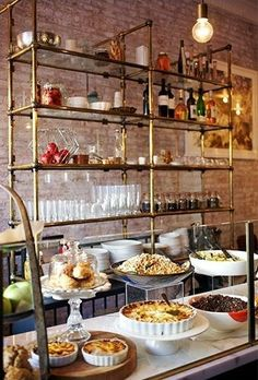 french bistro shelves in the kitchen - open kitchen shelving french country kitchen French Country Kitchens, French Kitchen, New Kitchen, Kitchen Dining, Farmhouse Kitchens, Bistro Design, Design Café, Cafe Design, Glass Shelves Kitchen