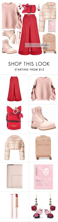 """""""airport style"""" by katymill ❤ liked on Polyvore featuring House of Holland, Timberland, Off-White, SwissGear, Tory Burch, Rodial, Puma, Marni, airport and airportstyle"""