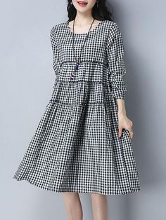 Women Black Daily Casual Long Sleeve Cotton Paneled Gingham Dress Linen Dresses, Casual Dresses, Little Girl Dresses, Girls Dresses, Trendy Suits, Choli Dress, Batik Dress, Floral Print Maxi Dress, Plaid Fashion