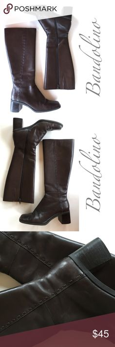 """Espresso brown tall block square toe heel boot 6.5 From my personal closet, a special pair of my first tall leather boots. Love the decorative side stitch, comfy toe box, great with dress up or down. Heel measures 2"""", shaft 14"""" circumference, 14 1/2"""" high. Bandolino Shoes Heeled Boots"""
