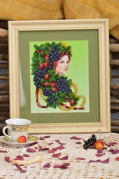 Beautiful handmade wall hanging bead embroidery in frame under glass Girl