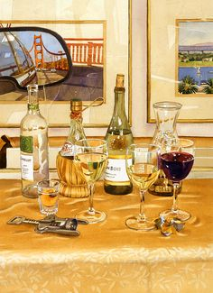 Mary Helmreich   WATERCOLOR    California Wine And Watercolors Painting