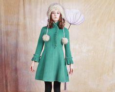 green cashmere jacket wool coatblue coat woolen coat by dongli