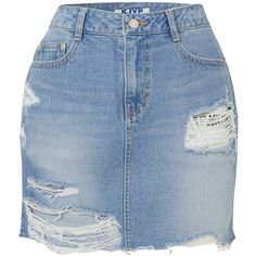SJYP Distressed denim mini skirt (1.420 RON) ❤ liked on Polyvore featuring skirts, mini skirts, distressed skirt, button skirt, sjyp, blue mini skirt and blue skirts