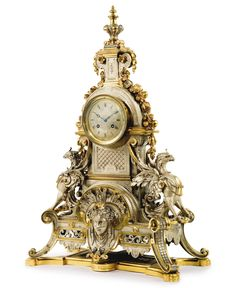 A large Louis XVI style gilt and silvered bronze mantel clock Paris, late 19th century Estimate  8,000 — 12,000  USD