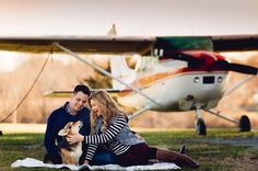 engagement session with airplane at airport