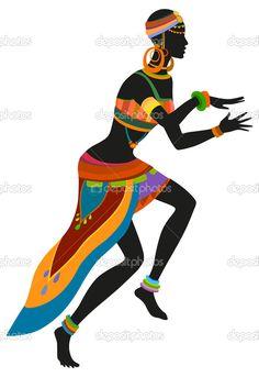Descargar - Mujer africana bailando danza ritual — Ilustración de stock #78620844