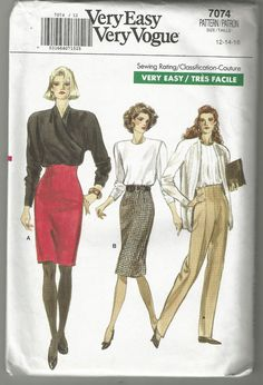 80s Vogue 7074 High waist skirt sewing pattern 12 14 16 tapered pants uncut vtg