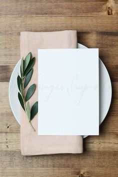 Blush and Olive Branch Place Setting - Product Mockups
