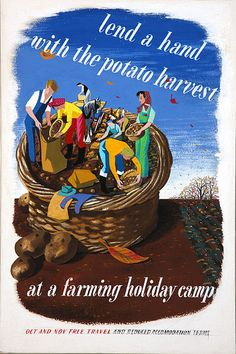 Lend a Hand potato harvest farming holiday camp poster artwork eileen evans national archives ministry of information