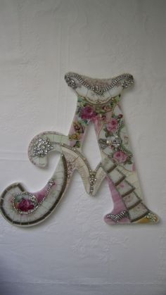 Rhinestone Wall Mirror details about vtgchic china mosaic pink roses wall french shabby