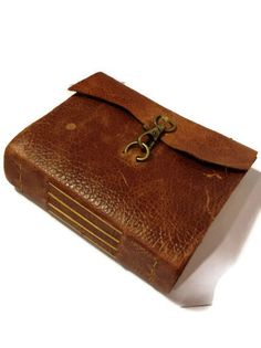 """VALENTINES GIFT Handmade Rusty Brown Leather Journal with Bronze Clasp-9x6"""" Free Monogram"""