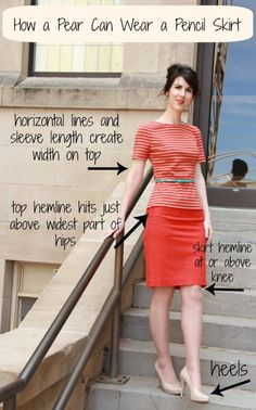 Tips and Tricks for the Pear Shape Great pointers on how to wear a pencil skirt for pear body shapes.Great pointers on how to wear a pencil skirt for pear body shapes. Pear Shaped Dresses, Pear Shaped Outfits, Pear Shape Fashion, Look Fashion, Womens Fashion, Petite Fashion, Fashion Fall, Trendy Fashion, Silhouette Mode