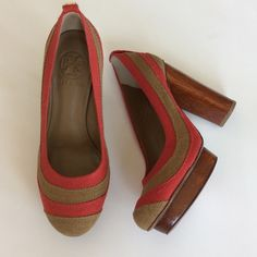 "Tory Burch Joelle Linen Colorblock Heels Tory Burch Joelle Linen Colorblock Heels. These are fabulous!! 5"" wooden heel with 1"" wooden platform. Size 6.5. In my opinion, they run just a bit big. NWT, never worn. No box! Tory Burch Shoes Platforms"