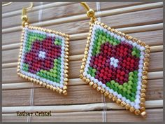 ESTHER CRISTAL Seed Bead Jewelry, Seed Bead Earrings, Beaded Jewelry, Loom Beading, Beading Patterns, Native Beadwork, Beaded Crafts, Native American Beading, Beading Projects