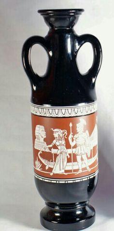 "Egyptian Jim Beam Bottle Black Vintage Decanter Theme 1962 Cleopatra Liquors Decanter Bottle Glass Handle Urn  13"" USD 30.00"