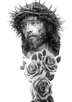 Left Arm Tattoo on Inspirationde Skull Tattoos, Body Art Tattoos, Hand Tattoos, Sleeve Tattoos, Jesus Tattoo Sleeve, Jesus Tattoo Design, Tattoo Design Drawings, Tattoo Designs Men, Christus Tattoo